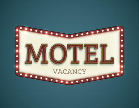 neon sign: Retro American motel roadsign. Light bulbs on the outer frame. Arrow shape. EPS10 vector image.