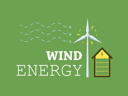 abstract mill: Conceptual image of an eco friendly house. Windmill charging a house. Flat vector image.