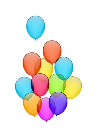 helium: Colorful flying helium balloons isolated on white. EPS10 vector. Illustration
