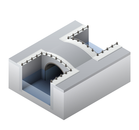 quay: Isometric illustration of a water channel and abridge across it in Amsterdam. EPS10 vector image.