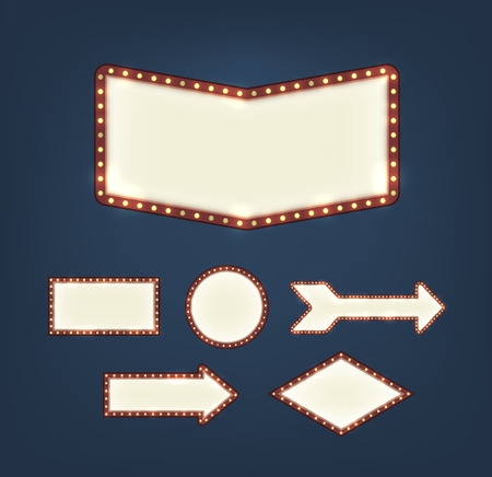red sign: Set of blank american advertising road signs with light bulbs of different shapes on dark background. EPS10 vector.