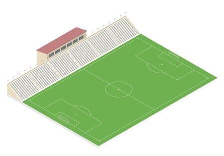 campo calcio: campo di calcio isometrica con una tribuna. illustrazione vettoriale EPS10