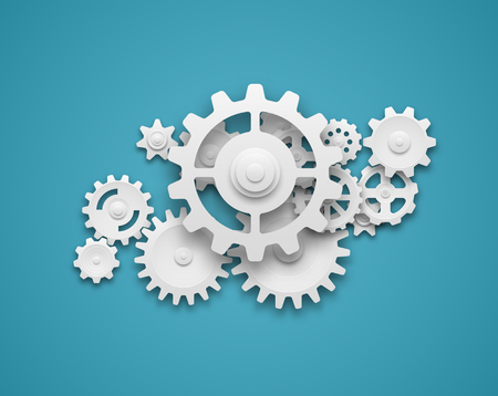Composition of white gears symbolizing cooperation and teamwork. EPS10 vector. Illustration