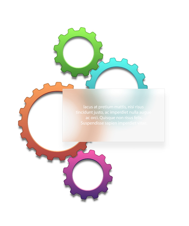 placeholder: Composition of colored gears with a frosted glass as a placeholder for your text. EPS10 vector.