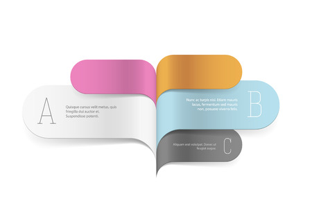 explaining: Colorful infographic template with ribbons in shape of speech bubbles with copyspaces isolated on white. EPS10 vector template for explaining different option.