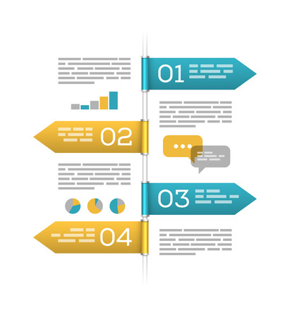 to the right: Waymark style infographic template, four arrows with copyspaces showing left and right. EPS10 vector illustration.