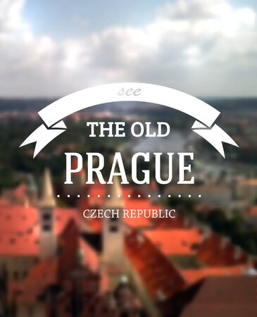czech: Travel poster on a blurred view of prague city. EPS10 vector. Illustration