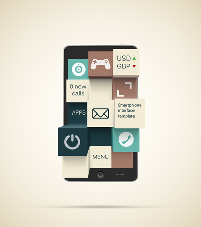 tactile: Black smartphone with 3d tactile interface made of square buttons with copyspaces for text and icons. EPS10 vector image. Illustration