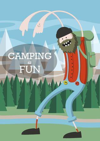 persona caminando: hombre de camping historieta fresca con una barba en la selva. Dice acampar es diversión. ilustración vectorial EPS10.