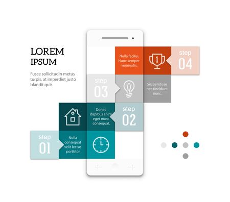 copyspaces: Abstract geometric smartphone infographic template. Ladder of squares with copyspaces. Sample text and icons. EPS10 vector image.