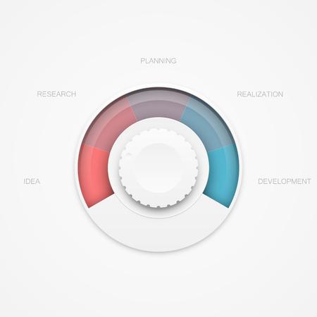 realization: Idea realization progress rotation adjuster. Interface element template. EPS10 vector.