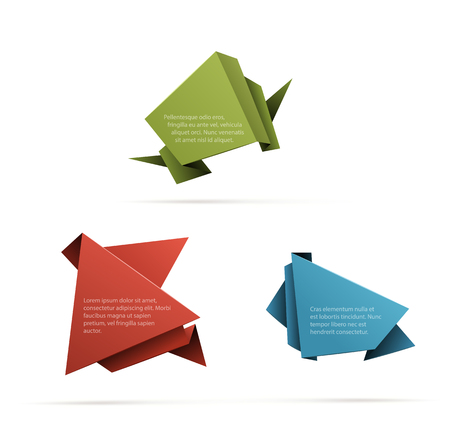 copyspaces: Three abstract origami shapes with copyspaces isolated on white. EPS10 vector image.