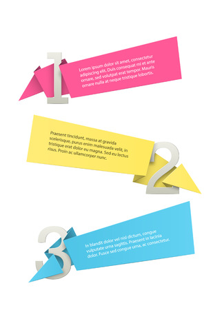 copyspaces: origami labels with copyspaces wrapping 3d numbers. EPS10 vector.