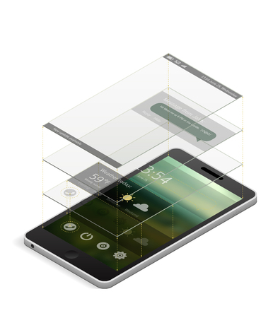 interface elements: Isometric smartphone with an interface layout template. Different interface elements on different layers shown as glass rectangles above the screen. EPS10 vector illustration.