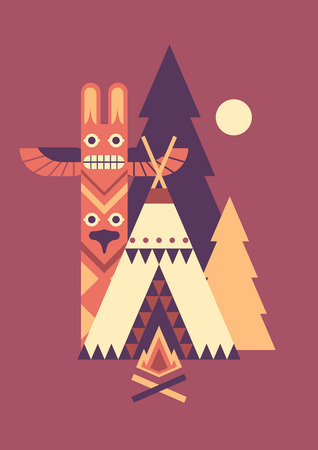 Indian wigwam, totem and fir trees. Simple vector geometry graphic. Illustration
