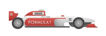 motorsports: Realistic sport car with sample editable advertisements isolated on white. EPS10 vector illustration.