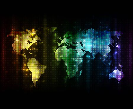 light effects: Glowing world map with light effects on dark background. EPS10 vector image.