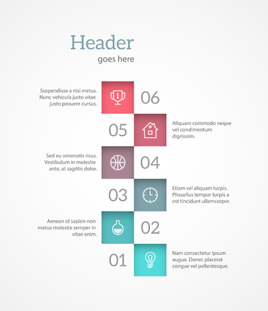 Light and simple numbered list template with place for text and icons. EPS10 vector.