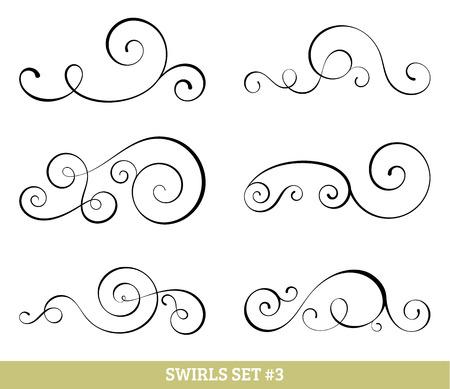 simple: Set of six vector flourish swirls. Simple black contours on white.