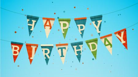 fond de texte: Deux guirlandes triangle de drapeau avec le texte joyeux anniversaire. EPS10 illustration vectorielle.