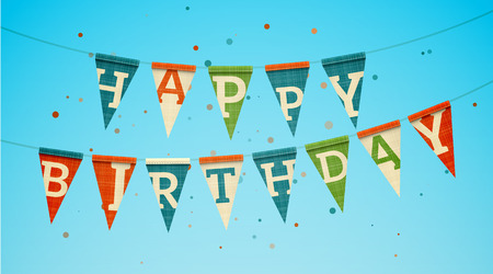 hanging banner: Two triangle flag garlands with Happy Birthday text. EPS10 vector illustration.