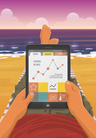 freelancer: Freelancer with a tablet pc working while lying on a sandy beach in the sunset. EPS10 vector cartoon illustration. First person view.