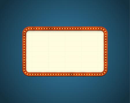 letrero: Glowing cine letrero con bombillas de luz en el contorno. EPS10 vector de fondo,