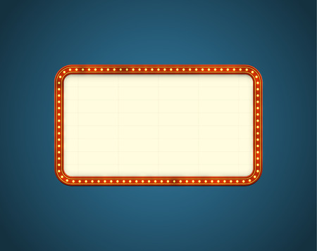 Glowing cinema signboard with light bulbs on the contour. EPS10 vector background, Çizim