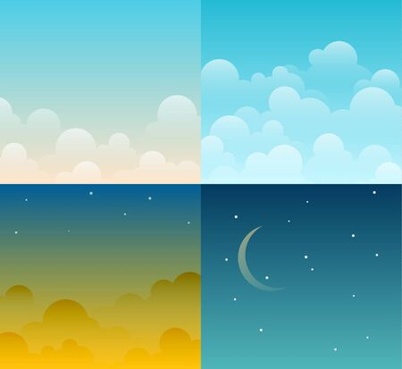 morning night: Set of four different bright cartoon vector sky backgrounds. Night, day, morning, sunset. EPS10 vector.