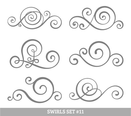 abstract swirls: Set of six vector flourish swirls. Simple black contours on white.