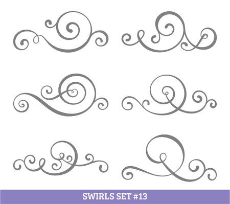 black swirls: Set of six vector flourish swirls. Simple black contours on white.