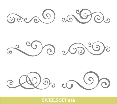 decoratif: Ensemble de six vecteur épanouir tourbillonne. contours noirs simples sur blanc.
