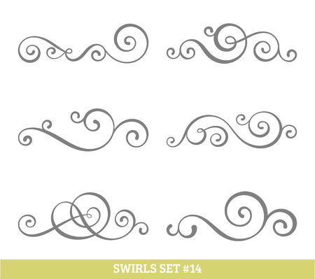 Set of six vector flourish swirls. Simple black contours on white.