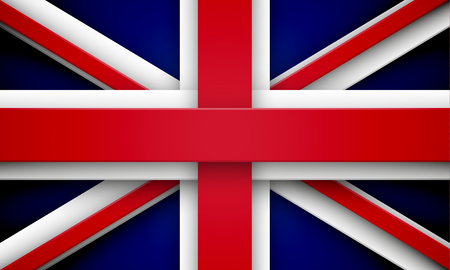 overlapping: Flag of Great Britain made of red and white overlapping ribbons. EPS10 vector Union Jack.