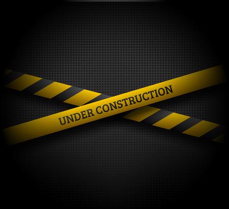 어두운 배경에 UNDER 건설 텍스트와 함께 노란 리본을 교차. EPS10 벡터 일러스트 레이 션입니다.