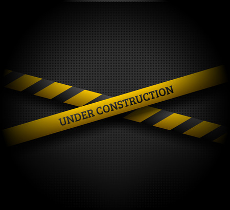 Crossing yellow ribbons with UNDER CONSTRUCTION text on dark background. EPS10 vector illustration.