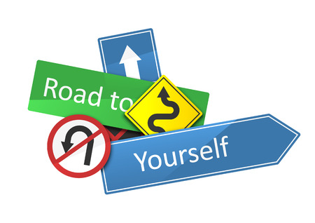 roadsigns: Road to yourself text on a dynamic composition of roadsigns isolated on white.