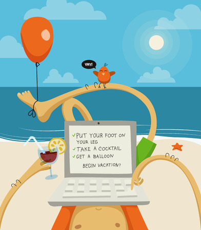 laptop outside: Funny cartoon illustration of a doodle man on vacation with a laptop on the beach.  Illustration