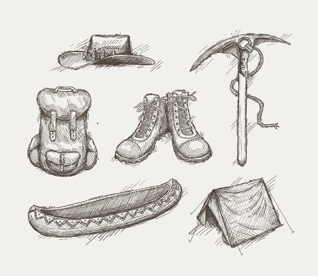 ice climbing: Collection of old style hand drawn camping and expedition equipment.  Illustration