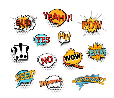 Set of bright cool and dynamic comic speech bubbles for different emotions and sound effects. EPS10 vector image. Çizim