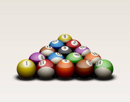 billiard: Billiard balls set up in a triangle.