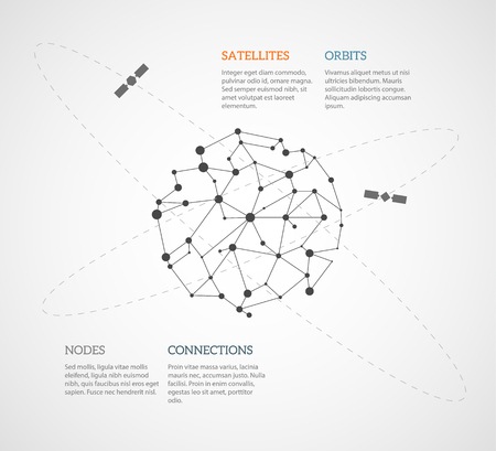 orbiting: Simple infographic template with a mesh of internet nodes and connections stretched around the globe and satellites orbiting around. EPS10 vector image. Illustration