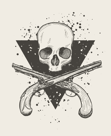 flintlock: Hand drawn doodle skull with two crossing flintlock pistols. EPS10 vector drawing.