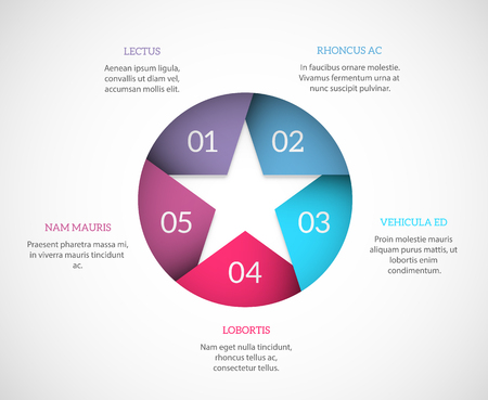 copyspaces: Simple infographic template with a star and copyspaces around it. EPS10 vector background. Illustration
