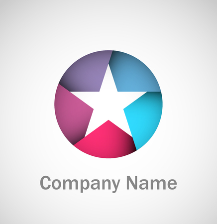 blue stars: Cool star in a circle logo with sample company name Illustration