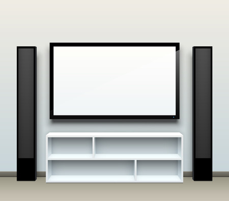 Realistic vector home cinema illustration with a blank TV screen and tall speakers on the sides.  Ilustração