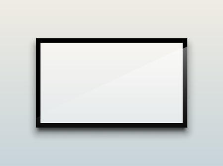 Empty white flat TV screen hanging on a white wall. EPS10 vector image. Stock Illustratie