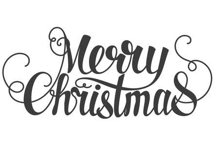 texts: Merry Christmas hand lettering isolated on white.