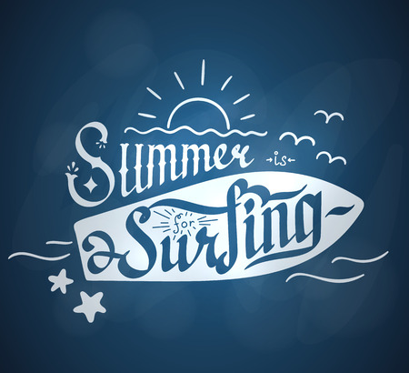 custom letters: Summer is for Surfing hand lettering. Hand drawn custom letters.
