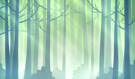 foggy: Foggy fairy green forest background.